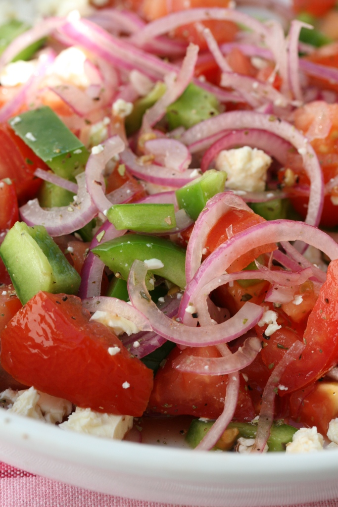 Simple Salad Of Red Onions Tomatoes Green Pepper And Feta Drizzle And Dip