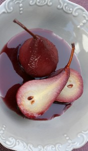 pears poached in spicy red wine