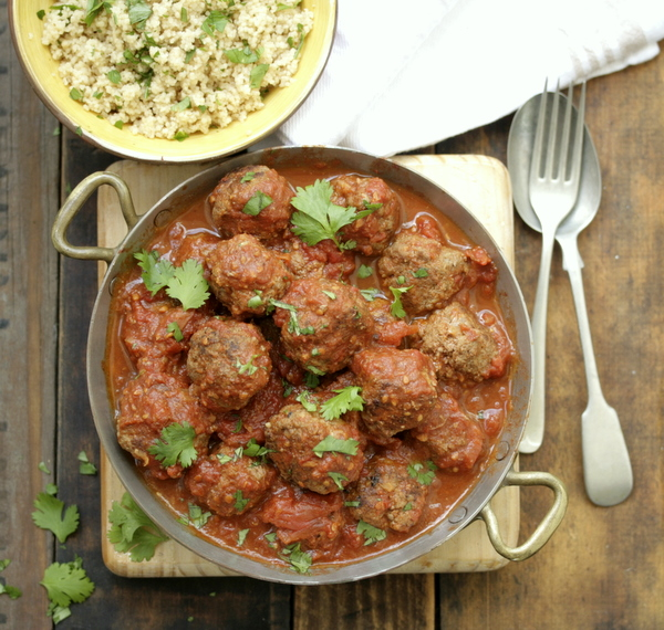 Moroccan meatballs with herb couscous | Drizzle and Dip