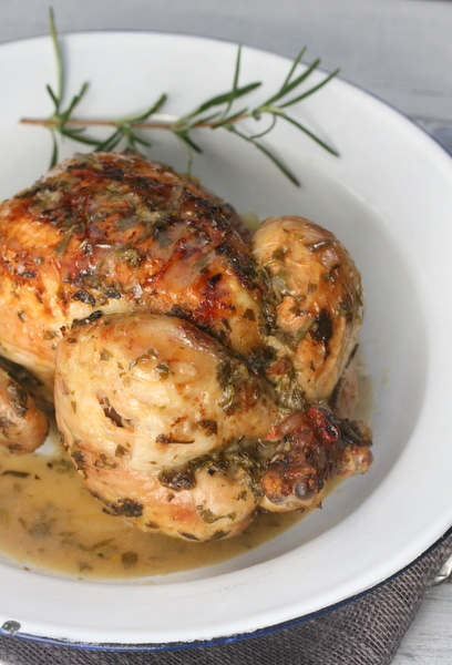 Baby Chicken Roasted In Wine And Herbs Recipe Drizzle