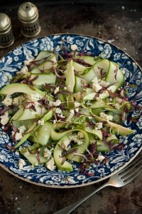 avocado, cucumber, blue cheese salad with beetroot micro leaf