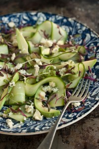 avo, cucumber, blue cheese salad with beetroot