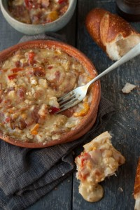 baked Camembert with crispy bacon and peppers