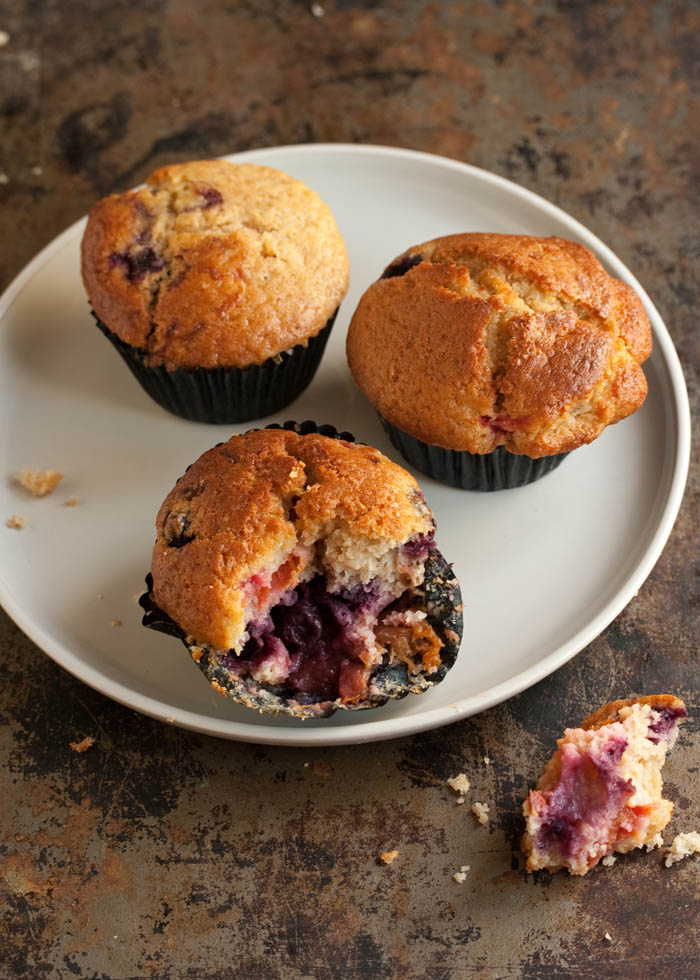 blueberry and apricot muffins