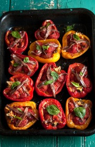 Roasted red peppers stuffed with tomatoes, garlic