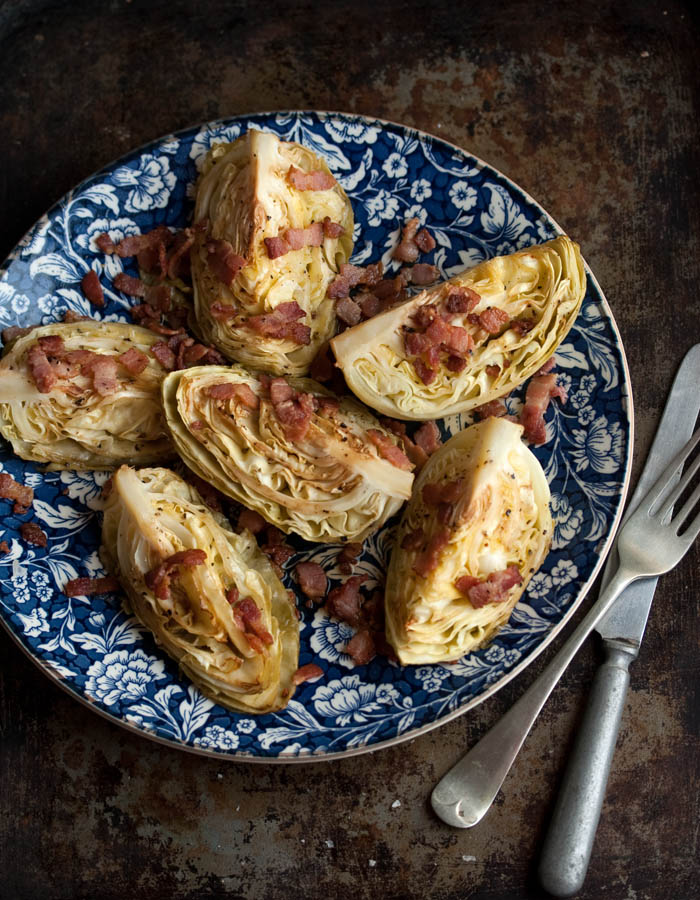 easy roasted cabbage wedges with crispy bacon | Drizzle and Dip