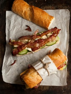 bacon, blue cheese and avo baguette