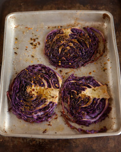 roasted red cabbage with Moroccan spices