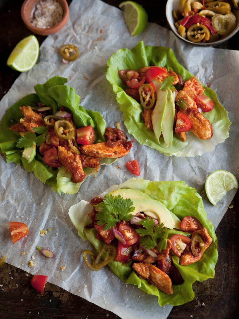 lettuce 'tacos' with chipotle chicken
