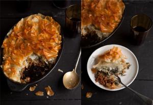 beef florentine phyllo pie