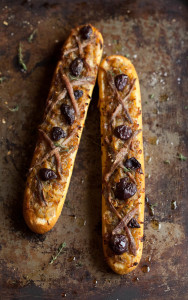 a cheats pissaladiere with baguettes