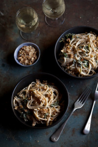 lemony spinach and goats cheese linguini