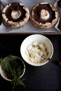 black mushrooms stuffed with goats cheese butter and dill