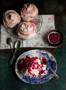 pink swirl meringues with pomegranate syrup