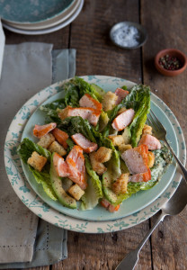 pan fried salmon salad with a caper mayonnaise