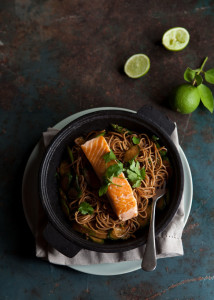 asparagus and zucchini stir fry with salmon and soba noodles