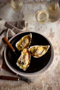oysters gratin on leeks