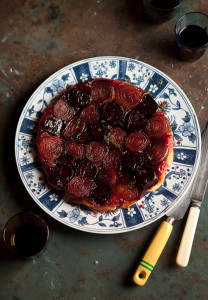 roasted beetroot and onion tart tartin with a thyme balsamic caramel