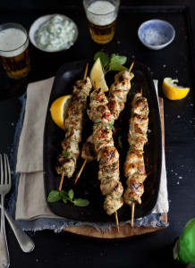 grilled chicken kebabs with lemon, chilli and mint and tzatziki