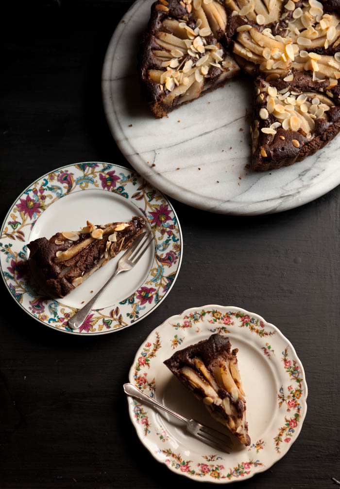chocolate and pear frangipane tart