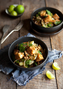 soba noodle and vegetable stir fry with peanut crusted tofu
