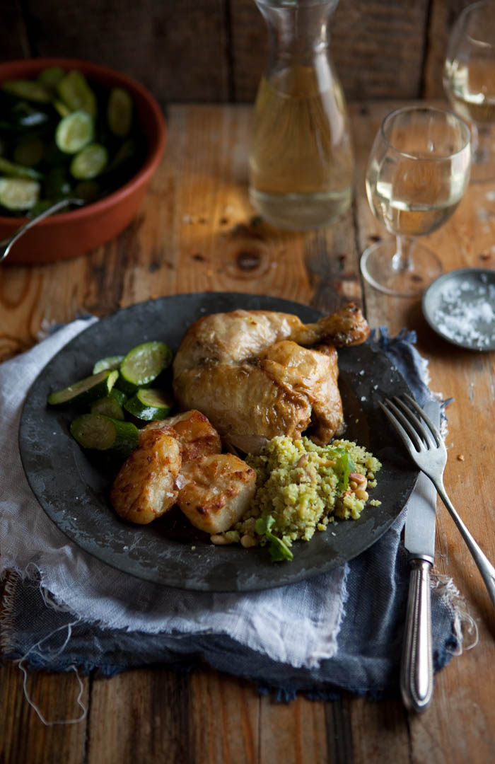 roast chicken with buttery Moroccan spices