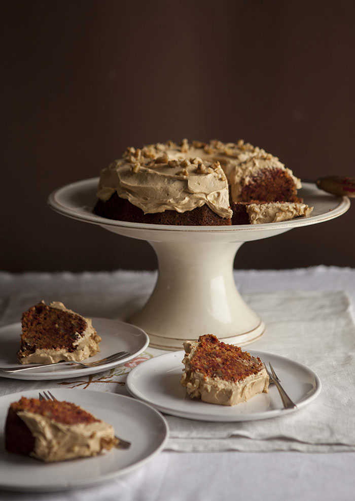carrot and beet cake with caramel cream cheese frosting