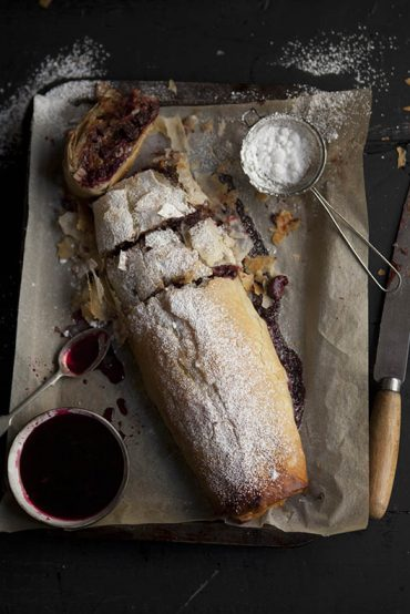 cherry and christmas pudding strudel with chocolate