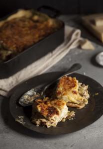 chicken, leek and mushroom pancake bake