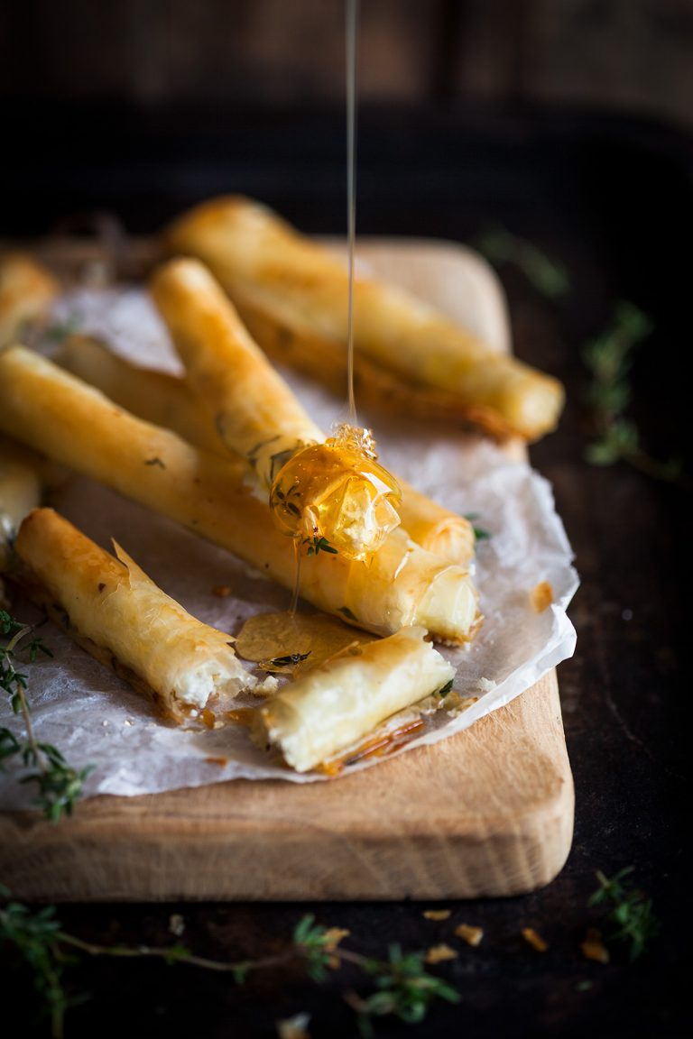 Baked goats cheese cigars with honey & thyme recipe