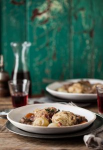 chicken casserole with red wine and herb dumplings