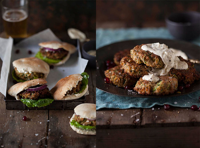 pork and zucchini burgers with spring onion and cumin