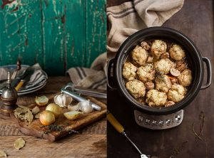 red wine chicken casserole with herb dumplings in my Breville Multi Chef