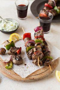 ostrich fillet kebabs with zucchini tzatziki