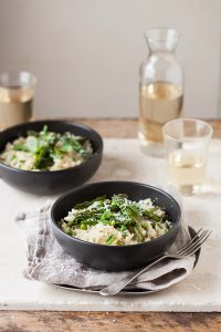 pean and asparagus risotto with basil and lemon