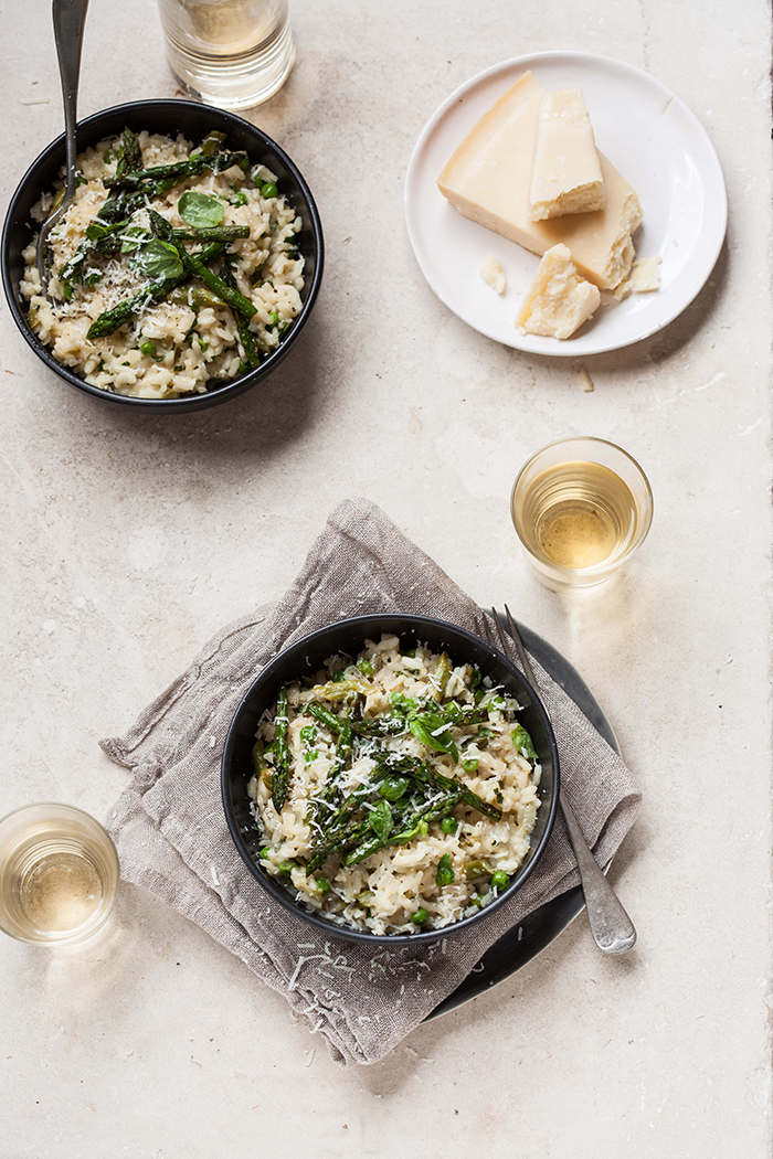 asparagus and pea risotto with basil and lemon