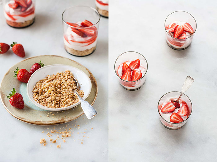 strawberry cheesecake with nut crumble