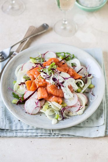 salmon trout salad with fennel, radish and beetroot