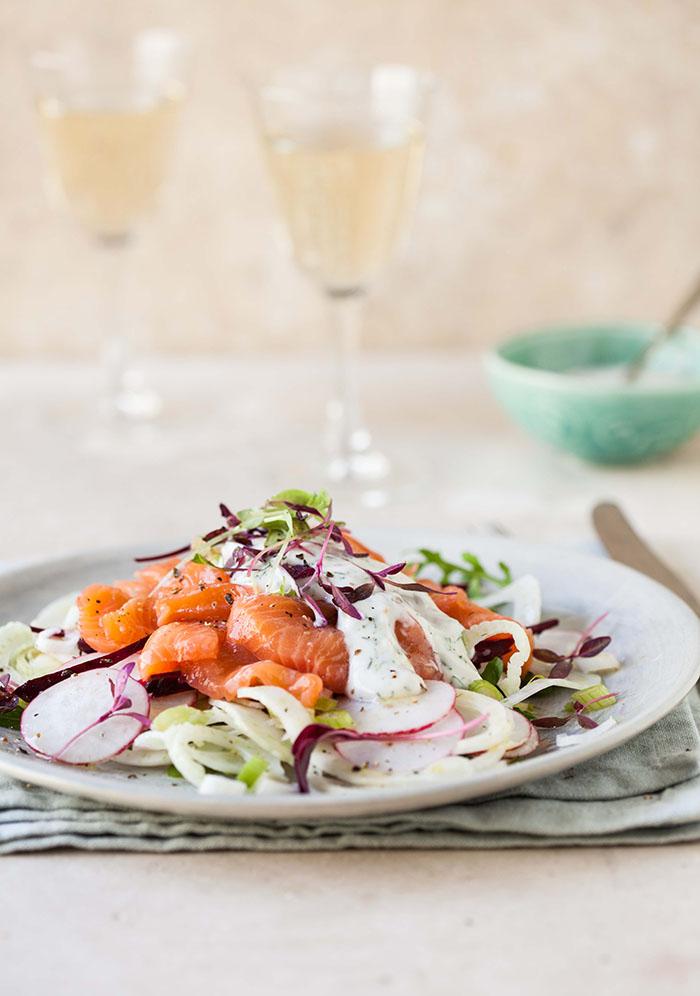 raw salmon salad with fennel, radish and beetroot