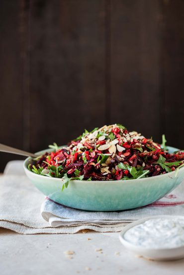 raw beetroot and carrot salad with herbs