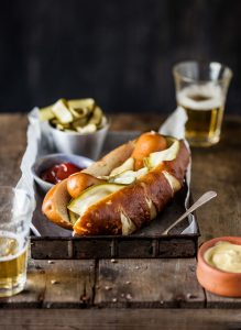 hot dog with easy fridge zucchini pickles