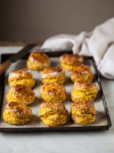 scones with butternut, cheese and chives