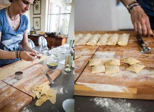 Emma Freddi teaching a pasta making class at Enrica Rocca