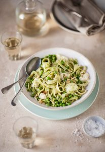 tagliatelle with pea pesto and mozzarella