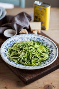 zucchini 'linguine' with Parmesan