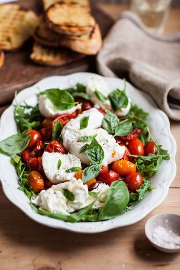 slow roasted tomatoes wth mozzarella and basil