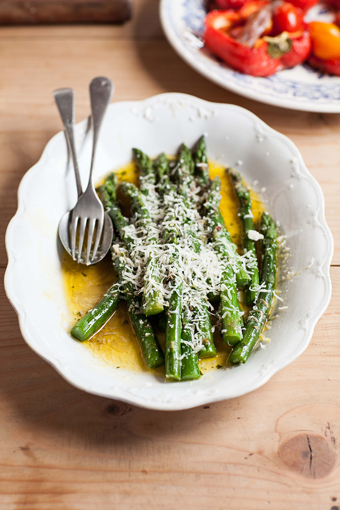 asparagus with anchovy butter and Parmesan