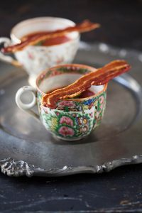 bloody mary shots with crispy bacon strips