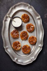 mini grilled pinapple tart tartins with minty creme fraiche