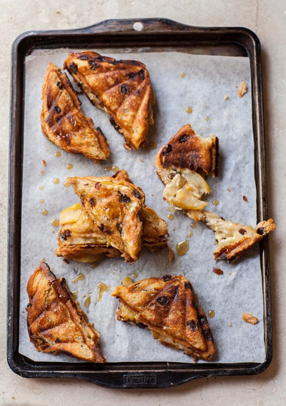 caramelized pear and gorgonzola toasted sandwich